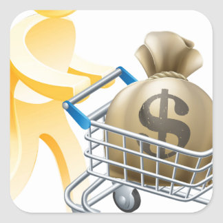 Money shopping cart trolley person square sticker