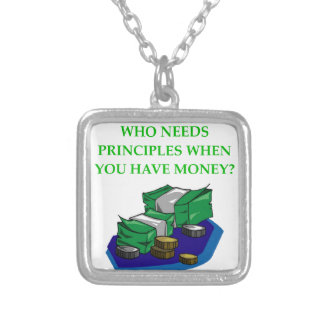 MONEY SILVER PLATED NECKLACE