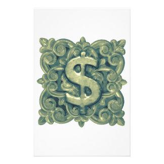 Money Symbol Ornament Custom Stationery