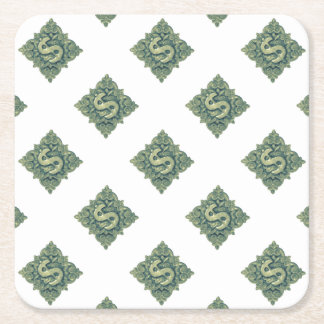 Money Symbol Ornament Square Paper Coaster
