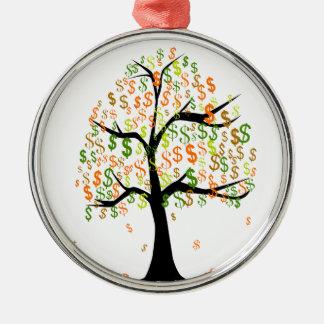 Money Tree Silver-Colored Round Ornament