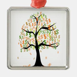 Money Tree Silver-Colored Square Ornament