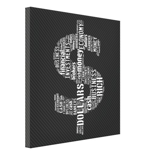Money Typed Text Symbol   Business Gifts Stretched Canvas Print