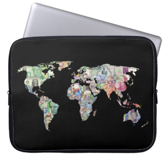 money world map finance country symbol business cu laptop sleeve