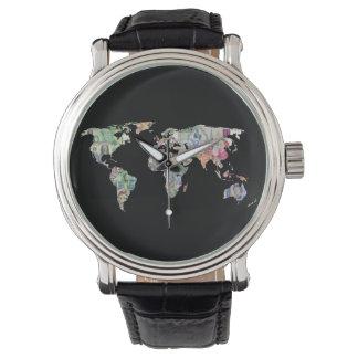 money world map finance country symbol business cu watch