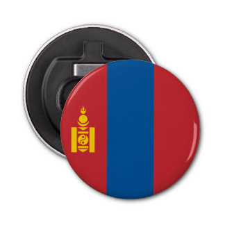Mongolia Flag Button Bottle Opener