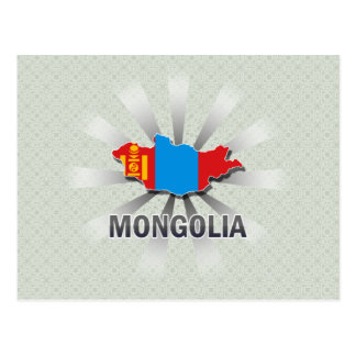 Mongolia Flag Map 2.0 Postcard