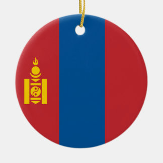 Mongolia Flag Round Ceramic Ornament