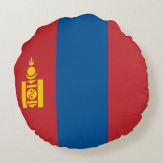 Mongolia Flag Round Pillow
