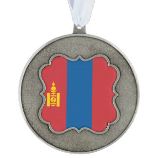 Mongolia Flag Scalloped Pewter Ornament