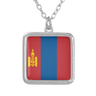 Mongolia Flag Silver Plated Necklace