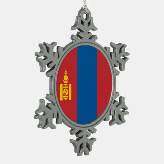 Mongolia Flag Snowflake Pewter Christmas Ornament