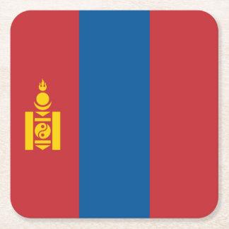 Mongolia Flag Square Paper Coaster