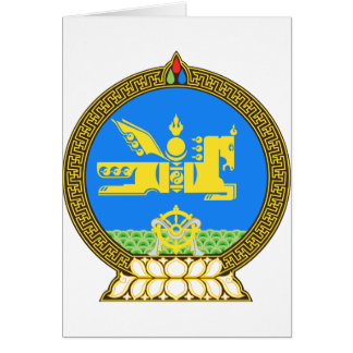 Mongolia Official Coat Of Arms Heraldry Symbol Card