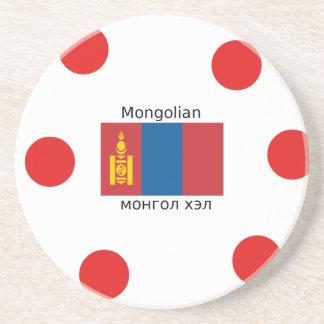 Mongolian Language And Mongolia Flag Design Coaster