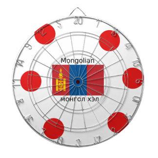 Mongolian Language And Mongolia Flag Design Dartboard