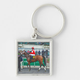 Mongolian Prince Silver-Colored Square Keychain