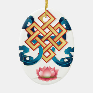 Mongolian religion symbol endless knot for decor ceramic ornament