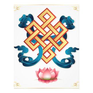 Mongolian religion symbol endless knot for decor letterhead