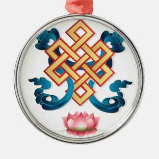 Mongolian religion symbol endless knot for decor metal ornament
