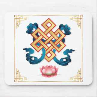 Mongolian religion symbol endless knot for decor mouse pad