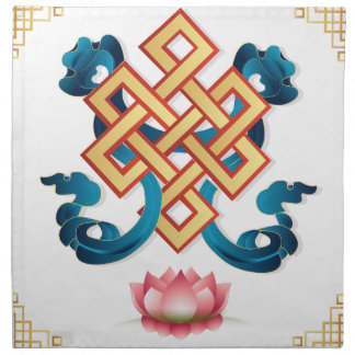 Mongolian religion symbol endless knot for decor napkin