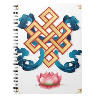 Mongolian religion symbol endless knot for decor notebooks
