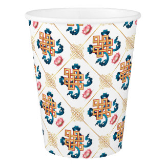 Mongolian religion symbol endless knot for decor paper cup