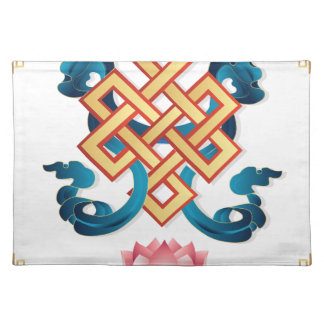 Mongolian religion symbol endless knot for decor place mat