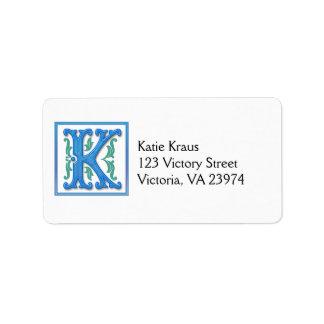 Mongram Initial K Custom Address Labels