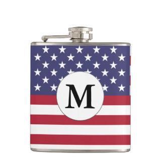 Mongrammed American Flag Hip Flask