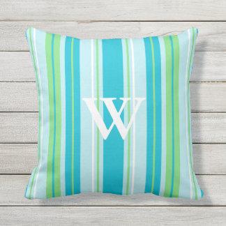 Mongrammed Aqua Blue, Green and White Stripes Throw Pillow