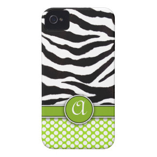 Mongrammed Zebra Print iPhone 4 Case-Mate