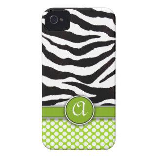 Mongrammed Zebra Print iPhone 4 Case-Mate