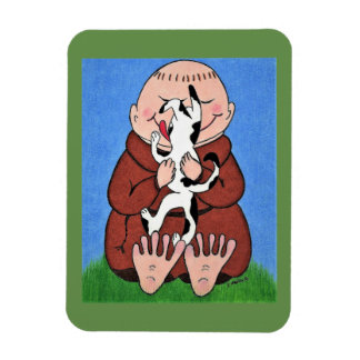 Monk and dog art magnet