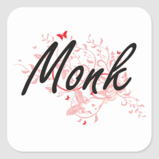 Monk Artistic Job Design with Butterflies Square Sticker