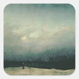 Monk by sea, 1809 square sticker