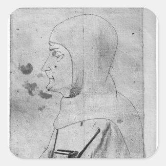 Monk, from the The Vallardi Album Square Sticker