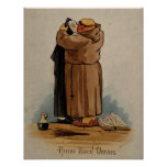 Monk kissing Nun, Love Conquers All, Vintage Poster