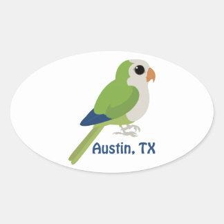 Monk Parakeet -Austin, Texas Oval Sticker