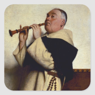 Monk Playing a Clarinet Square Stickers