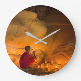 Monk Praying By A Buddha Large Clock