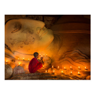 Monk Praying By A Buddha Postcard