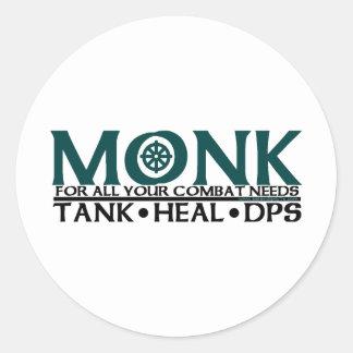 Monk Round Stickers