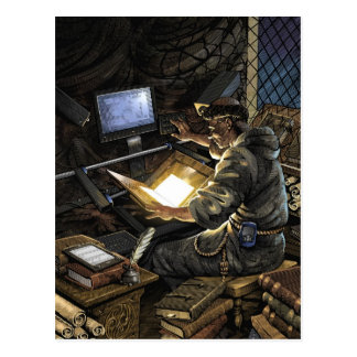 Monk with Book Scanner Postcard