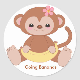 monkey2, Going Bananas Classic Round Sticker