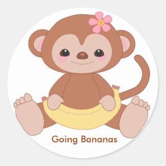 monkey2, Going Bananas Round Sticker