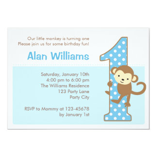 Monkey 1st Birthday Invitation for Boys
