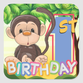 Monkey 1st Birthday Party Square Sticker