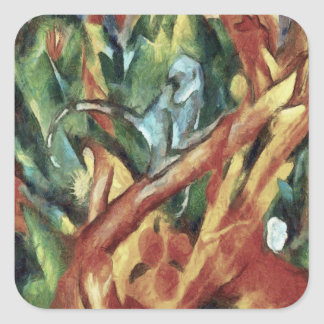 Monkey After Franz Marc, 1912 Square Sticker